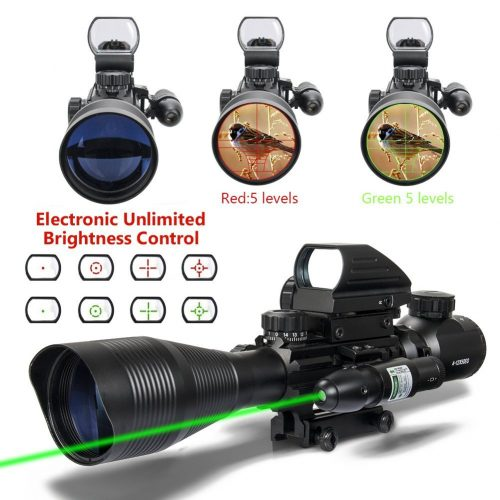 Aipa AR15 Rifle Scope Tactical Combo 4-12x50EG Dual Illuminated and 4 Reticles Red