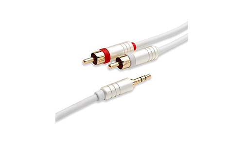 4. BlueRigger 3.5mm to 2RCA Male to Male Audio Auxiliary Stereo Y Splitter Cable