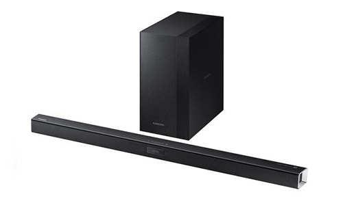 5. Samsung 2.1 Channel 300 Watt Sound Bar with Wireless Active Subwoofer Home Theater System