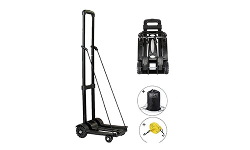 2. Folding Hand Truck, 70 Kg/155 lbs Heavy Duty 4-Wheel Solid Construction Utility Cart Compact and Lightweight