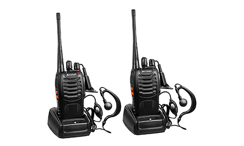 8. Arcshell Rechargeable Long Range Two-way Radios with Earpiece