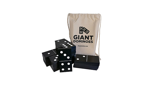 9. Get Out! Giant Wooden Dominoes 28-Piece Set & Bag