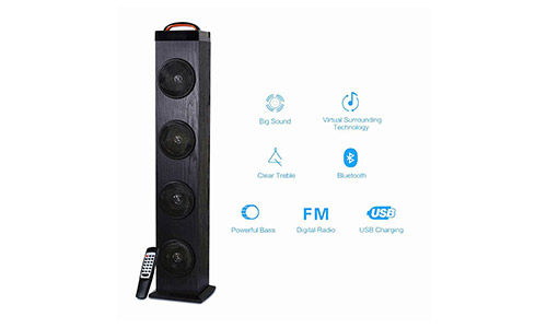 10. Tower Speaker, TRANSPEED Wireless Bluetooth Floorstanding Speaker w/Subwoofer