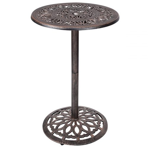 "Costway Cast Aluminum Bar Table 41"" Vintage Round Outdoor Patio Bistro Table"