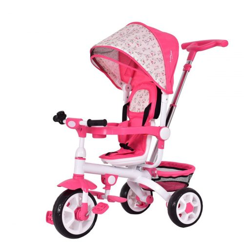 Costzon 4-in-1 Kids Tricycle Steer Stroller Toy Bike w/Canopy Basket