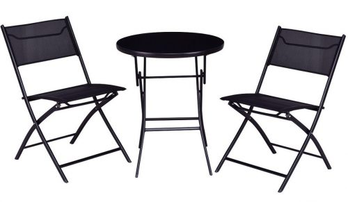 Giantex 3PC Bistro Set Folding Round Table And Chair Set Outdoor Furniture Backyard