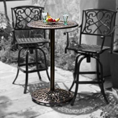 Great Deal Furniture Paris Cast Aluminum Outdoor Bar Height Bistro Table