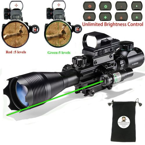 Hunting AR15 Tactical Rifle Scope Combo C4-16x50EG with Green Laser and 4