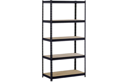 EDSAL Sandusky UR185P-BLK Black Steel Heavy Duty 5-Shelf Shelving Unit