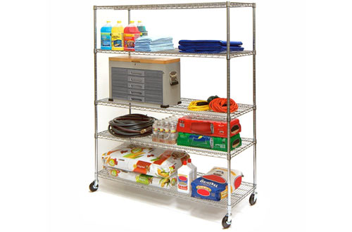 Seville Classics UltraDurable 5-Tier NSF Steel Wire Shelving with Wheels