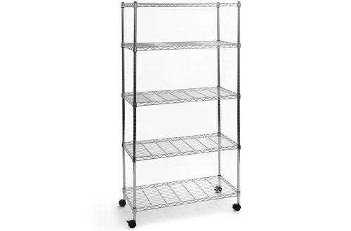 Seville Classics 5-Tier UltraZinc Steel Wire Shelving/w Wheels