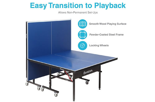Indoor Table Tennis Table with Playback Feature and Locking Wheels