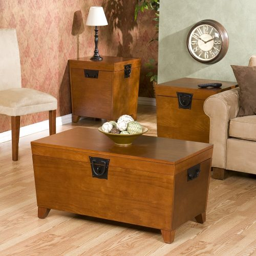 Pyramid Trunk Table Collection , 1 Coffee Table , 2 End Tables Set , Oak