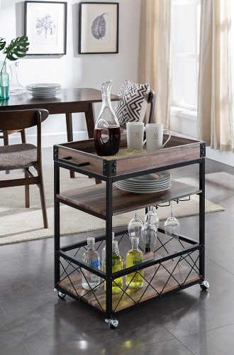 Reclaimed Oak Black Metal Industrial Style 3-tier Serving Wine Tea Dining Kitchen Cart with Bottle Holder