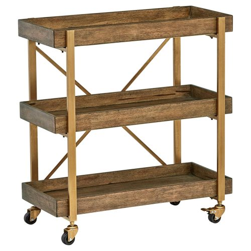 "Rivet 3-Tiered Rustic Metallic Rolling Wood and Metal Bar Cart, 29.9"" W, Natural"
