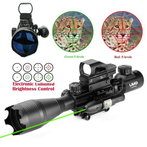 UUQ 4-16x50 Tactical Rifle Scope Red/Green Illuminated Range Finder Reticle