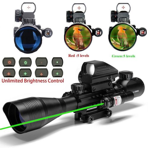 UUQ C4-12X50 Rifle Scope Dual Illuminated Reticle W/ Green Laser and 4 Tactical Holographic Dot Sight Color:Green Laser