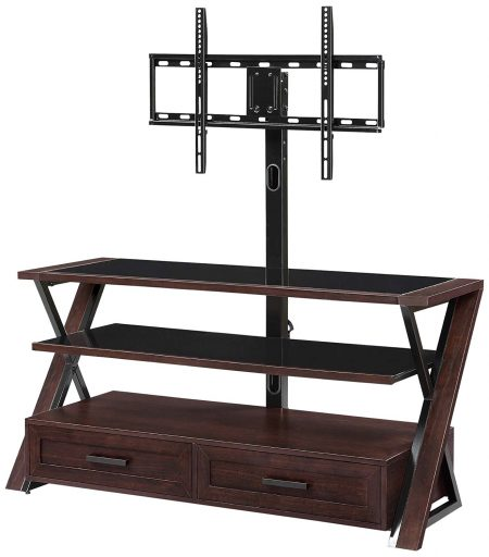 Whalen Furniture XLDEC54-NV 3-in-1 Flat Panel Entertainment Stand with 2 Drawers, 54-Inch