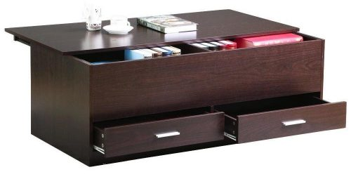 go2buy Storage Coffee Table Wooden Trunk Sofa Table for Living Room, Espresso
