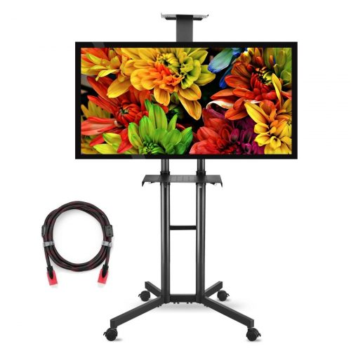 suptek Universal TV Cart For LCD LED Plasma Panel Stand Mount With Wheels Mobile And 2 Adjustable Shelves For 32 to 60 Inch