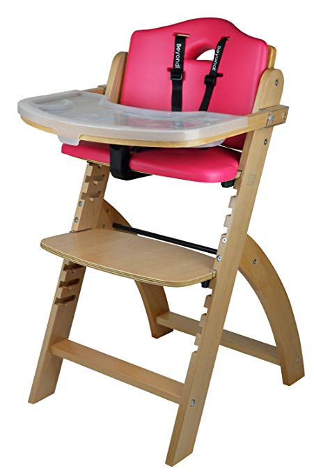 5. Abiie Wooden High Chair With Tray (Red Cushion)