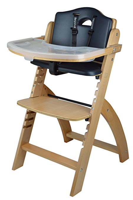 6. Abiie Wooden High Chair With Tray (Black Cushion)