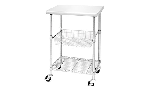 8. Seville Classics Stainless Steel Professional Kitchen Cart