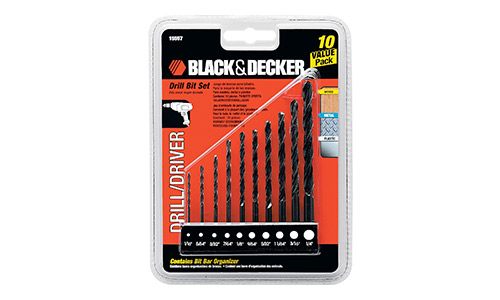 9. BLACK+DECKER 15557 10-Piece Drill Bit Set
