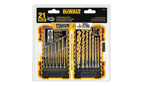 7. DEWALT DW1361 Titanium Pilot Point Drill Bit Set