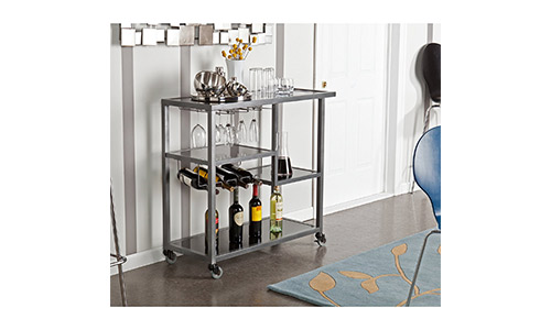 6. Holly & Martin Zephs Bar Cart, Gunmetal Gray Finish with Black Tempered Glass