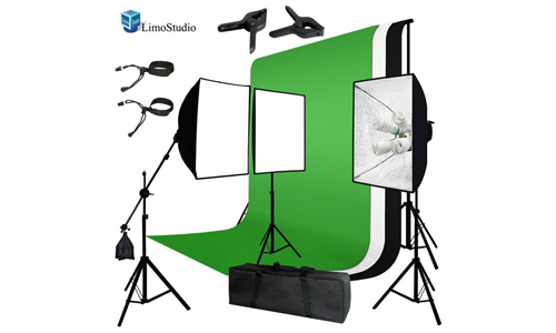 3. LimoStudio Photo Video Studio Four Light Head Continuous Lighting Softbox Boom Stand Kit