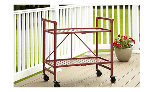 9. Cosco Indoor or Outdoor Folding, Metal, Rolling Serving Cart