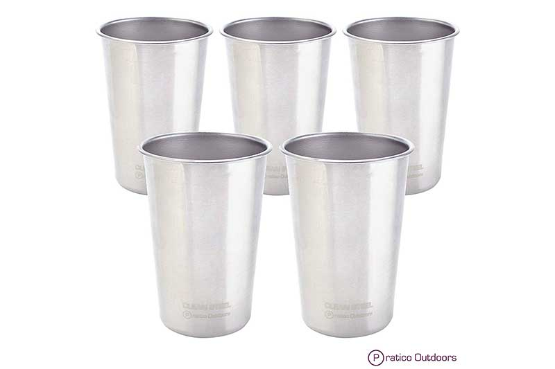 Clean Steel Stainless Steel Cups (Pack 5 or 2) - Multi-purpose 16 oz Pint Glasses