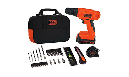 6. Black & Decker BDCD120VA 20V Lithium Drill/Driver Project Kit