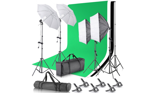 9. Neewer 2.6M x 3M/8.5ft x 10ft Background Support System and 800W 5500K Umbrellas Softbox Continuous Lighting Kit