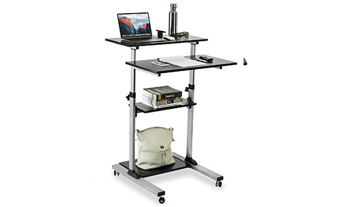 3. Mount-It! Mobile Stand Up Desk/Height Adjustable Computer Work Station Rolling Presentation Cart