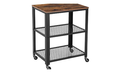 7. SONGMICS Rustic 3-Tier Serving Cart and Rolling Utility Storage Organizer