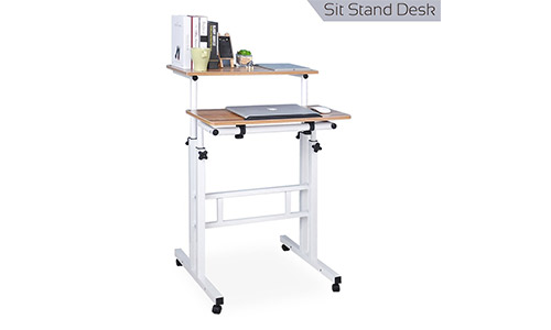5. Qwork Mobile Laptop Stand up Desk Cart Tilting Table