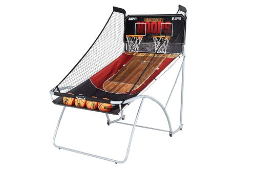 ESPN EZ Fold Indoor Basketball Arcade Games for 2 Players with LED Scoring and Arcade Sounds (6-Piece Set)