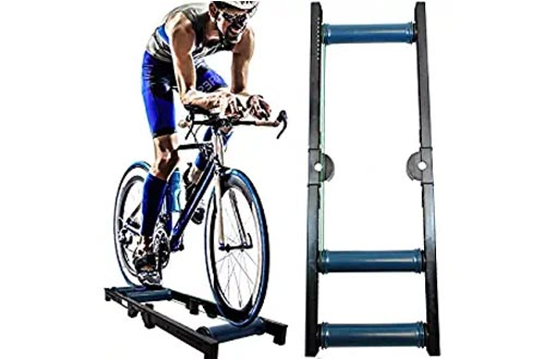 AccelaVelo Indoor Bike Roller Trainer | Light & Strong Frame | Compact Portable Tri-Fold Design | Seamless Rollers | 5 Year Warranty