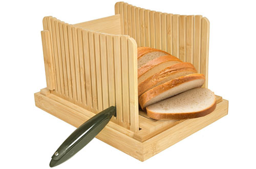 Kinwell Nature Bamboo Foldable Bread Slicer with Crumb Catcher Tray