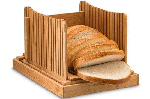 Bamboo Bread Slicers with Crumb Catcher Tray