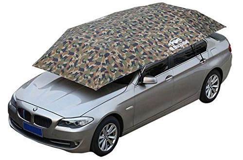 Reliancer Semi-automatic Car Tent Movable Carport Folded Portable Automobile Protection Car Umbrella Sunproof Sun Shade Canopy Cover Universal(157.48''X86.62'') (Camouflage)