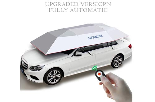 YIKESHU Automatic car umbrella, Carport Automatic Car Tent Sun Shade Canopy Folded Portable Car Umbrella with Remote Control 88x161 inches Silver