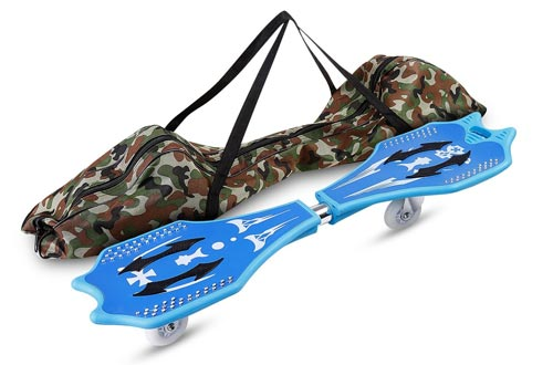 ANCHEER Caster Board Skateboard Classic Junior Waveboard for Adult Teens Kids Age 4 Up with 360-Degree Inclined Casters, Pivoting Concave Deck, Spikes Traction Pads and Carrying Bag