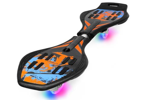 ENKEEO Caster Board with Hand Grip, Illuminating PU Casters and Carrying Pouch, Weight Capacity Up to 220lbs.