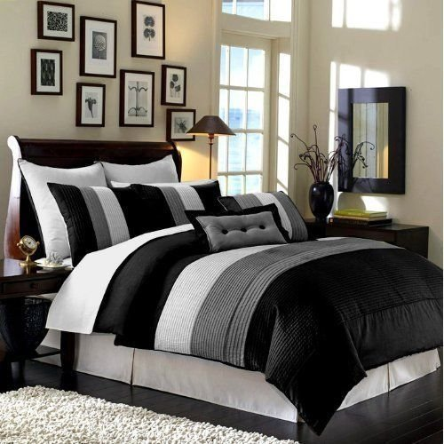 Chezmoi Collection 6-Piece Luxury Stripe Comforter Bed-