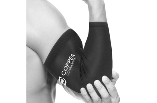 Copper Compression Recovery Elbow Sleeve - Highest Copper Content Elbow Brace/Support. For Workouts, Golfers And Tennis Elbow, Arthritis, Tendonitis.