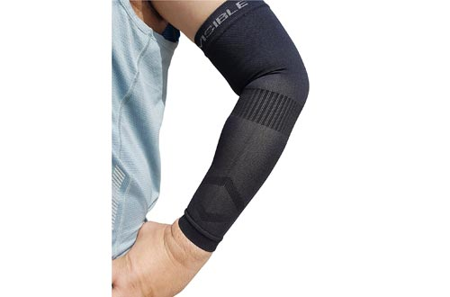 COMPRESSION ARM SLEEVE BeVisible Sports – Best Arm Support Sleeves For Men Women and Youth - Boosts Circulation Aids Faster Recovery With SPF 50+ UV Sun Protection - 1 Pair