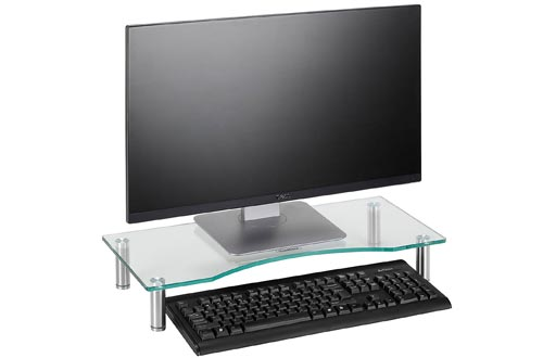 VonHaus Curved Glass Monitor Stand - Adjustable Height Multiple Screen Riser for PC Monitors, Computers, Laptops & TVs - 22 x 9.5 inches - Clear